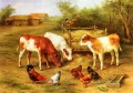 Calves And Chickens Feeding In A Farmyard farm animals Edgar Hunt