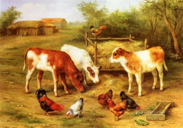 chicken Painting - Calves And Chickens Feeding In A Farmyard farm animals Edgar Hunt