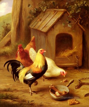 Animal Painting - Chickens Feeding farm animals Edgar Hunt