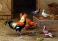 Chickens Pigeons And A Dove farm animals Edgar Hunt