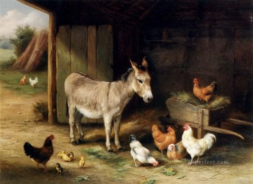 chicken Painting - Donkey Hens And Chickens In A Barn farm animals Edgar Hunt