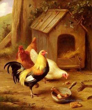 1870 Canvas - Hunt Edgar 1870 1955 Chickens Feeding