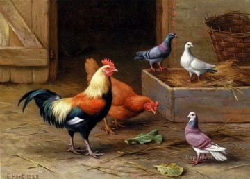 Animal Painting - Hunt Edgar 1870 1955 Chickens Pigeons and a Dove