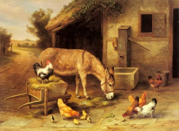chicken Painting - A Donkey And Chickens Outside A Stable farm animals Edgar Hunt