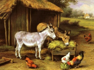 chicken Painting - Chickens And Donkeys Feeding Outside A Barn farm animals Edgar Hunt