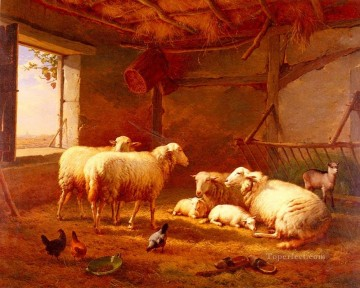 chicken Painting - Sheep With Chickens And A Goat In A Barn Eugene Verboeckhoven animal