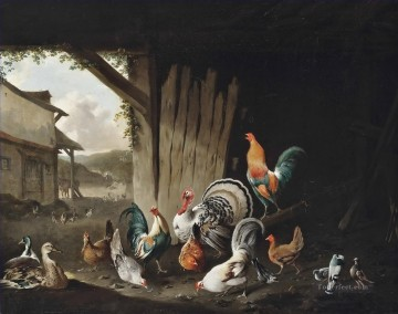 Animal Painting - Turkeys chickens ducks and pigeons in a farm Philip Reinagle fowl