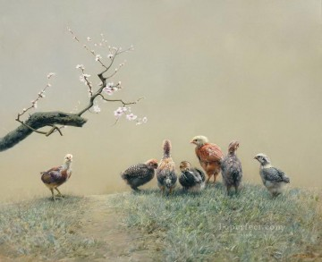 Animal Painting - peach garden chicken 2