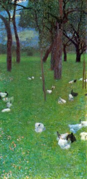 Animal Painting - After the Rain Garden with Chickens in St Agatha Gustav Klimt
