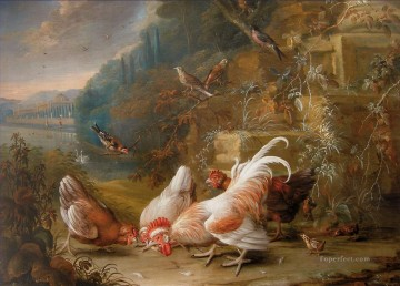 chicken Painting - George William Sartorius Chickens and Fowl