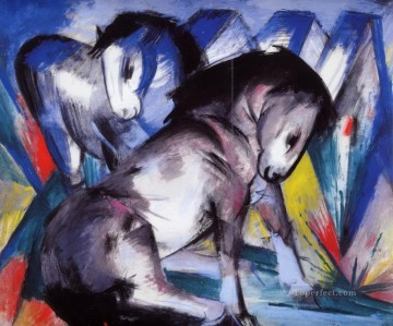horse racing Painting - Two Horses abstract Franz Marc German