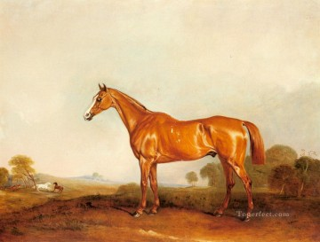 Ferneley Oil Painting - A Golden Chestnut Hunter In A Landscape horse John Ferneley Snr
