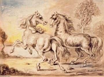 Animal Painting - GIORGIO DE CHIRICO TWO HORSES IN A TOWN