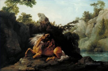 George Stubbs الحصان Devoured by a Lion رسم زيتي