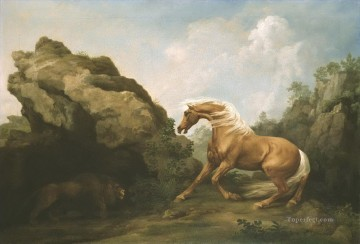 Animal Painting - Horse Frightened by a Lion