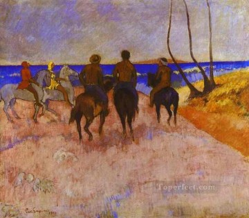 Horse Painting - Horsemen on the Beach Post Impressionism Primitivism Paul Gauguin