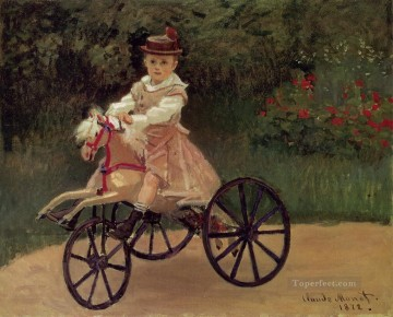 Horse Painting - Jean Monet on His Horse Tricycle Claude Monet