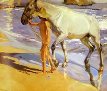 Animal Painting - Joaquin Sorolla y Bastida The Horse s Bath
