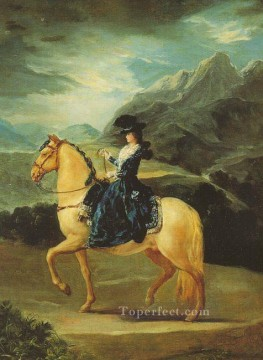 Maria Works - Maria Teresa of Vallabriga on Horseback portrait Francisco Goya