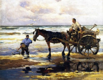 Animal Painting - Mathias J Alten Digging Clams horses