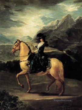 Maria Painting - Portrait of Maria Teresa de Vallabriga on Horseback Romantic modern Francisco Goya