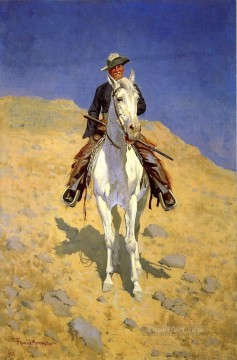 cowboy Painting - Self Portrait on a Horse Old American West cowboy Frederic Remington