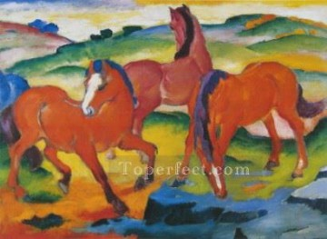 horse racing Painting - The Large Red Horses abstract Franz Marc