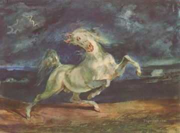 Animal Painting - eugene delacroix horse frightened by a storm 1824 1
