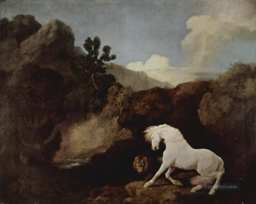 Animal Painting - george stubbs a horse frightened by a lion 1770