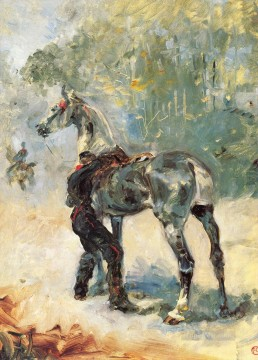 Animal Painting - henri de toulouse lautrec artilleryman saddling his horse 1879