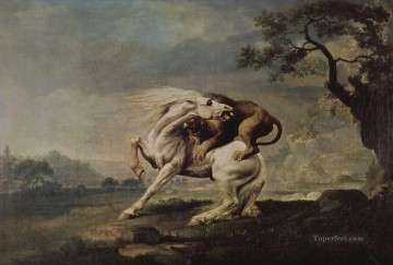 Animal Painting - horse attacked by a lion
