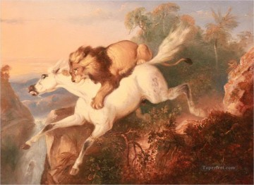 Animal Painting - horse attacked by lion