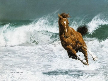 Animal Painting - running horse at seaside