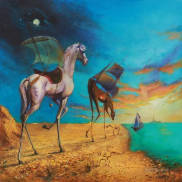 Horse Painting - surrealism horse to sea