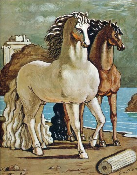 Animal Painting - two horses by a lake Giorgio de Chirico