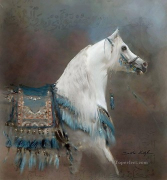 Animal Painting - white horse arabian animal