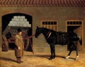 A Cart Horse And Driver Outside A Stable Herring Snr John Frederick horse