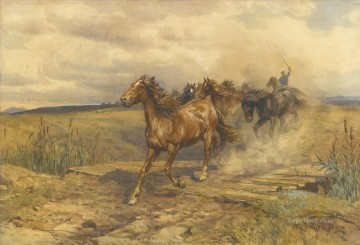 Herding Horses Enrico Coleman genre Oil Paintings