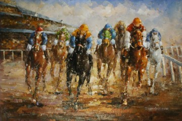 horce races racing Painting - Horse Racing european