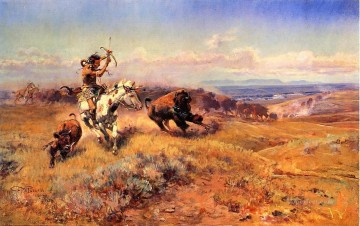 Horse Painting - Horse of the Hunter aka Fresh Meat Indians western American Charles Marion Russell