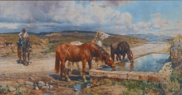 Horses drinking from a stone trough Enrico Coleman genre Oil Paintings