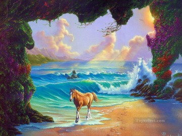 Animal Painting - JW horse by the waves