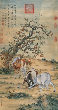 Animal Painting - Lang shining great horses old China ink Giuseppe Castiglione