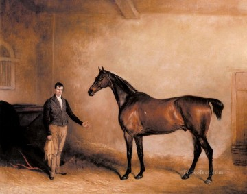 Horse Painting - Mr C N Hoggs Claxton And A Groom In A Stable horse John Ferneley Snr