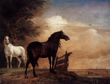 horses Art - Paulus Potter Horses in a Field