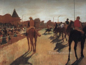 Animal Painting - Racehorses in Front of the Grandstand Impressionism Edgar Degas horses