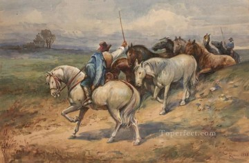 Animal Painting - Rounding Up Horses in Italy Enrico Coleman genre