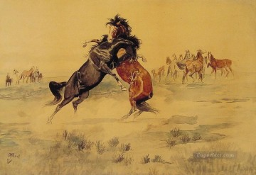 The Challenge western American Charles Marion Russell horse Oil Paintings