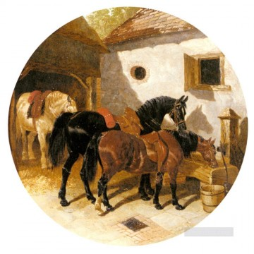 The Farmyard John Frederick Herring Jr horse Oil Paintings