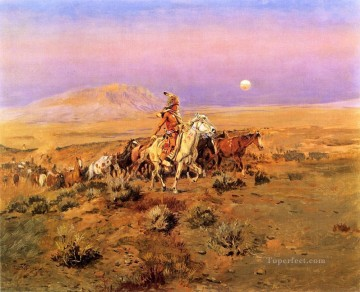 Russell Canvas - The Horse Thieves Indians western American Charles Marion Russell